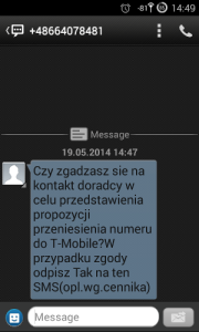 SMS spam od T-Mobile