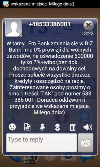 SMS spam od BIZ Bank