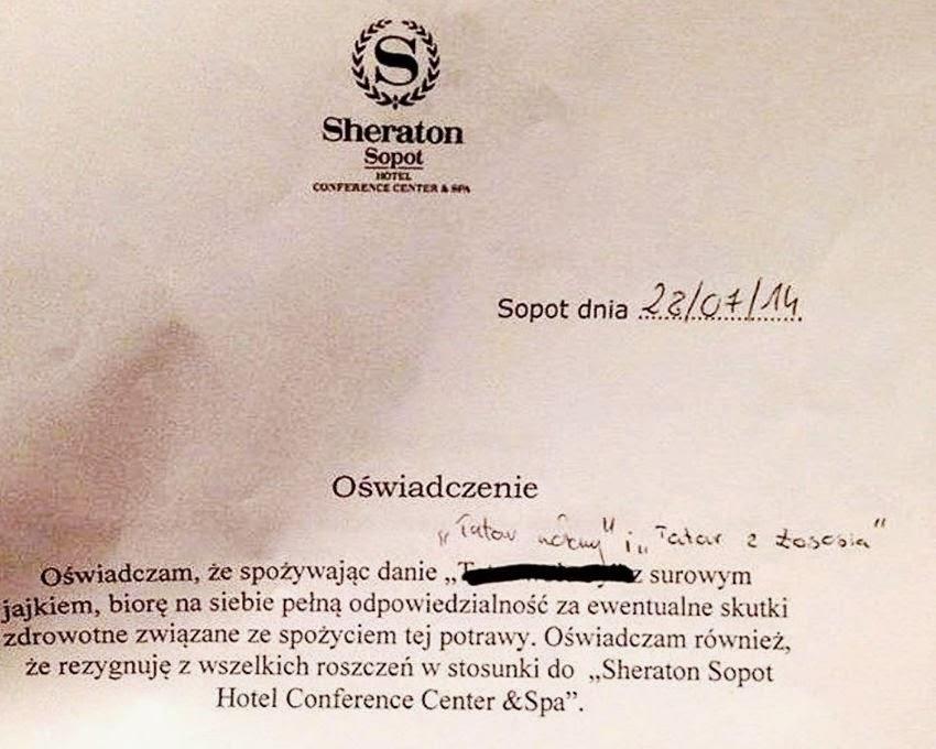 oświadczenie w sprawie zjedzenia tatara w hotelu Sheraton w Sopocie