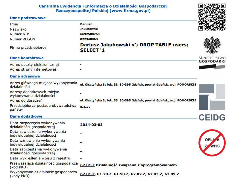 DROP TABLE w ewidencji przedsiębiorców CEIDG