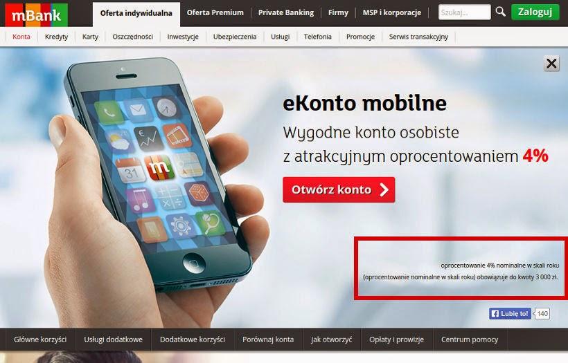 mBank reklama ekonta mobilnego wprowadza w błąd co do warunków oprocentowania