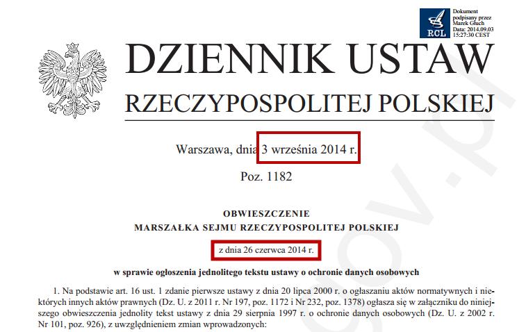 ustawa o ochronie danych osobowych tekst jednolity 2014