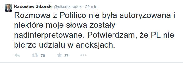 wywiad Sikorskiego dla Politico