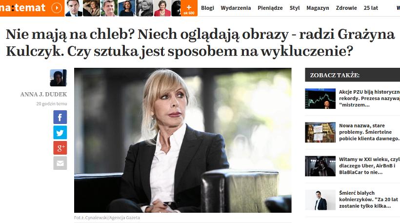 nie mająna chleb? niech oglądają obrazy -- taki rzekomy cytat w usta Grażynie Kulczyk włożyła dziennikarka plotkarskiego portalu naTemat.pl