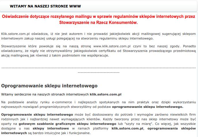 oświadczenie Hauptstadt Software klik.sstore.com.pl w sprawie wezwań Stowarzyszenie na Rzecz Ochrony Praw Konsumentów