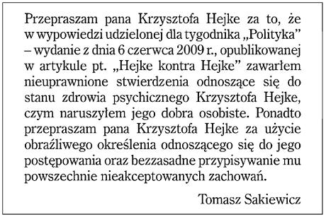 Sakiewicz Hejke proces