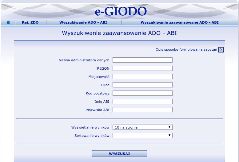 wyszukiwarka administratorów bezpieczeństwa informacji GIODO