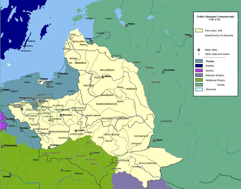 Konstytucja 3 Maja mapa Polski