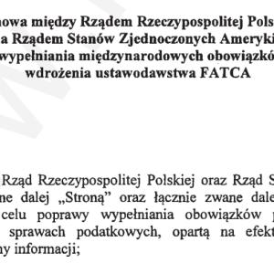 FATCA Dziennik Ustaw