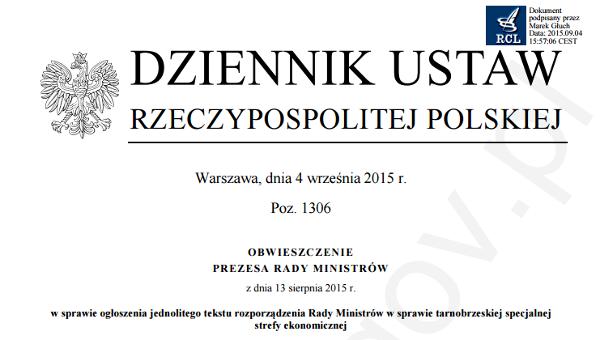 Tekst jednolity rozporządzenia ws. tarnobrzeskiej SSE nie obejmuje wcześniejszej nowelizacji. Zdaniem RCL nie jest to błąd, to feature ;-)