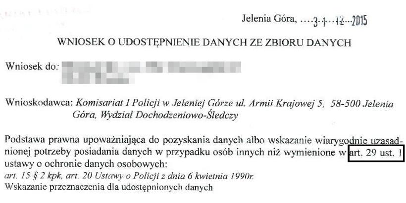 policja wniosek udostępnienie danych osobowych