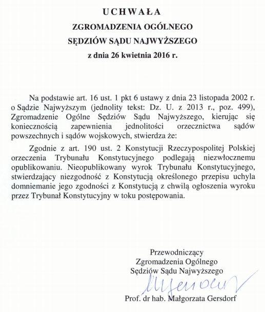 uchwała zgromadzenia ogólnego SN nieopublikowane wyroki TK