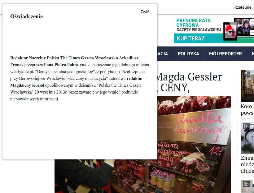 Gazeta Wrocławska przeprosiny Piotr Pobrotyn