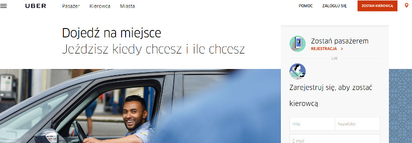 uber usługa przewozowa