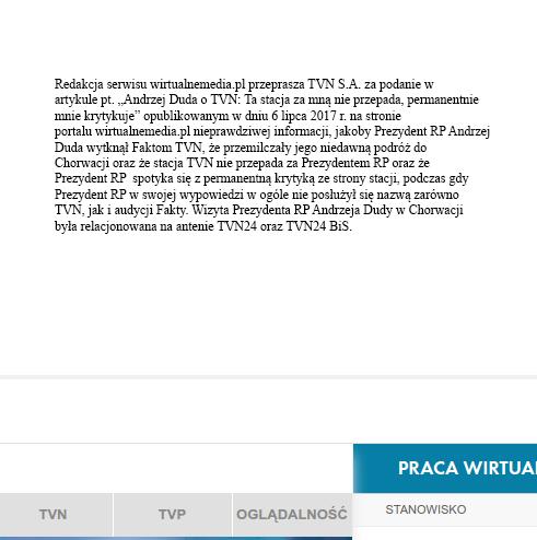 Wirtualnemedia.pl przeprosiny TVN