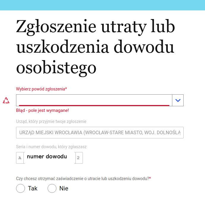 Zgłoszenie zgubienia dowodu osobistego internet