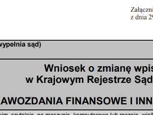 Nowy formularz KRS sprawozdanie finansowe KRS-Z30 KRS-ZN