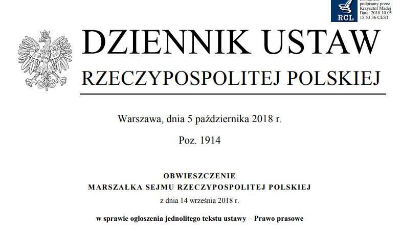 70aa0e90e3a5e6 Prawo prasowe - tekst jednolity z 2018 roku (Dz.U. z 2018 r. poz. 1914)