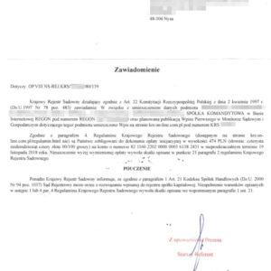 Uwaga spółkę Krajowy Rejestr Sadowny