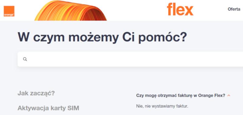 orange flex faktura