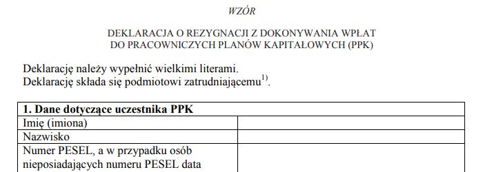 wzór deklaracji rezygnacja wpłat PPK