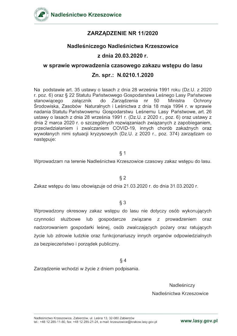 Zakaz wstępu lasu koronawirus