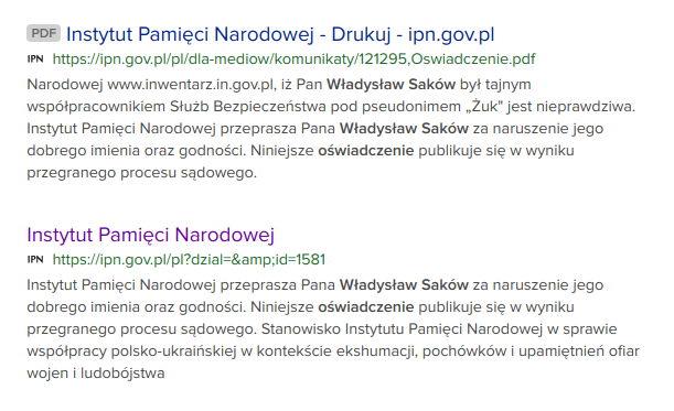 IPN nieprawdziwa informacja współpracy SB